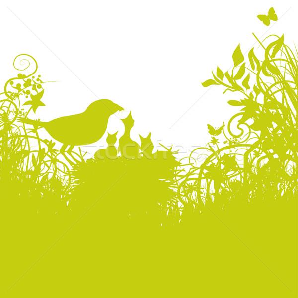 молодые птиц цветы весны любви трава Сток-фото © Ustofre9
