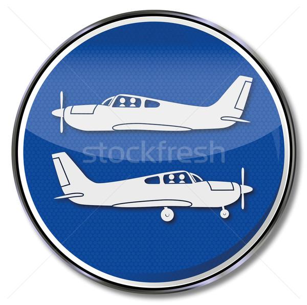 Felirat repülőgépek felszállás leszállás repülőgép feliratok Stock fotó © Ustofre9