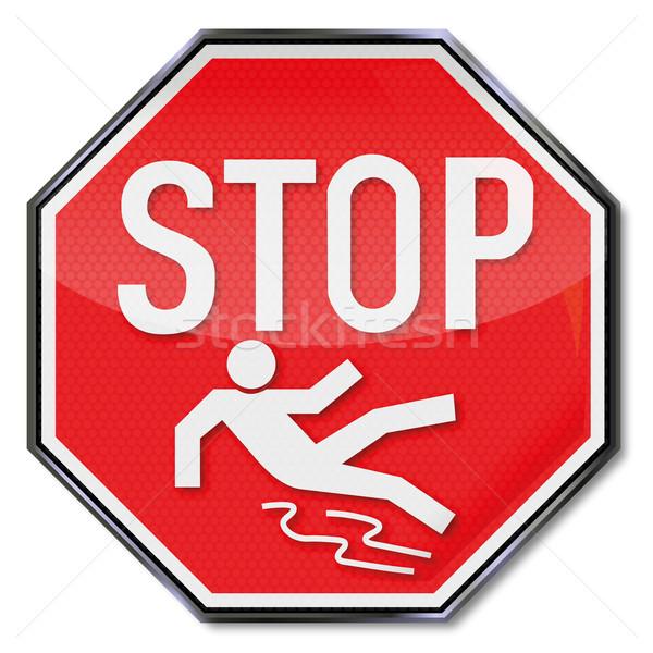 Figyelmeztető jel stop víz út jég felirat Stock fotó © Ustofre9