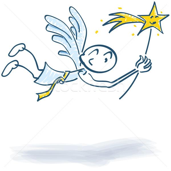 Pálcikaember repülés angyal csillag mosoly szeretet Stock fotó © Ustofre9