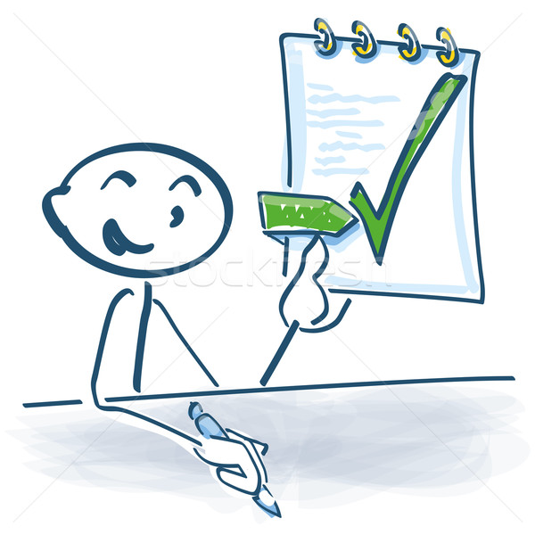 Stick figure has completed and signed the work contract Stock photo © Ustofre9