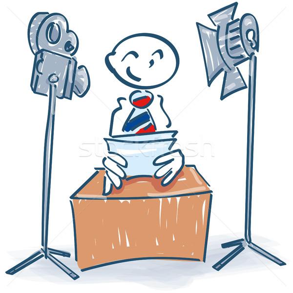 Stick figure бизнеса телевидение подготовки успех Сток-фото © Ustofre9