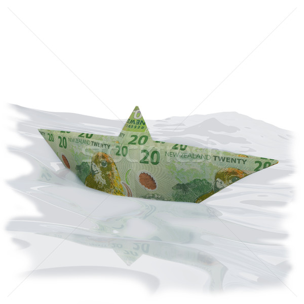 Paper boat with twenty new zealand dollar bills Stock photo © Ustofre9