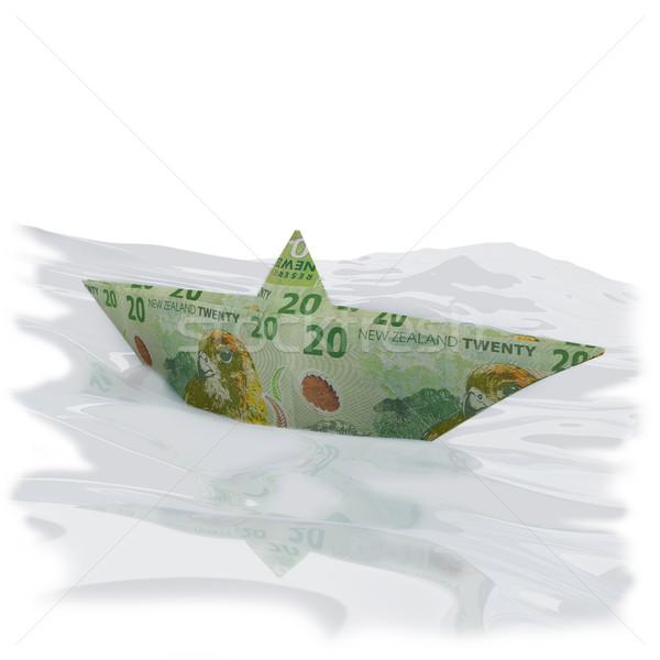 Papír csónak húsz Új-Zéland dollár bankjegyek madár Stock fotó © Ustofre9