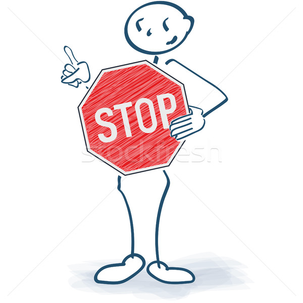 Stick figure with a stop sign in front of the body Stock photo © Ustofre9