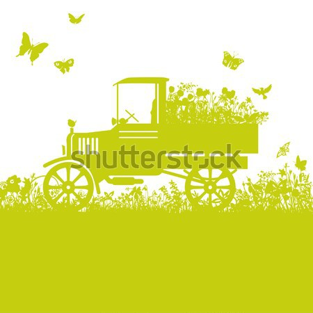 Old truck with a little tree on the loader Stock photo © Ustofre9
