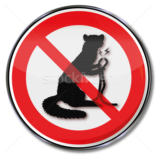 Prohibition sign marten and cable bite  Stock photo © Ustofre9