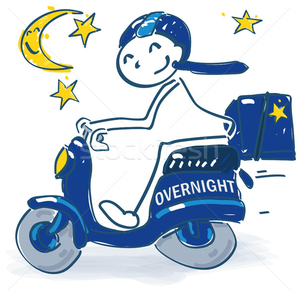 Stick figure with scooter as a  overnight courier Stock photo © Ustofre9