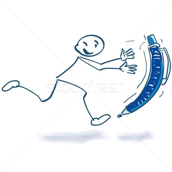 Stick figure running behind ballpoint pen Stock photo © Ustofre9