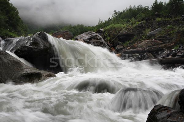 Hegy folyó víz tavasz erdő szépség Stock fotó © vadimmmus