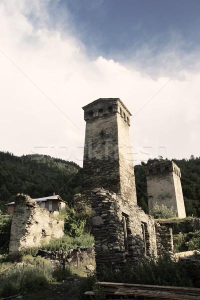 Eski kule tepeler mavi gökyüzü çim orman Stok fotoğraf © vadimmmus