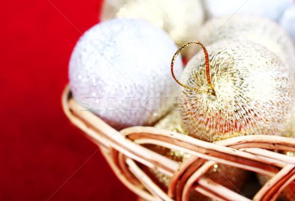 Karácsony arany golyók játék dob piros Stock fotó © vadimmmus