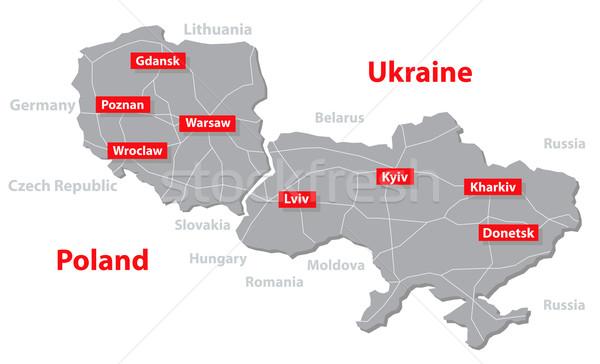 Lengyelország Ukrajna vektor térkép euro 2012 házigazda Stock fotó © vadimmmus