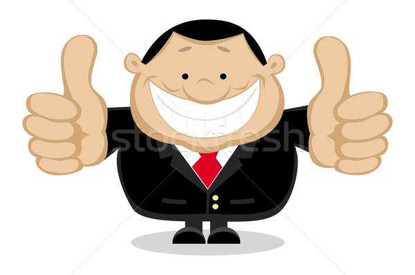 Mosolyog üzletember mutat remek különálló rétegek Stock fotó © vadimmmus