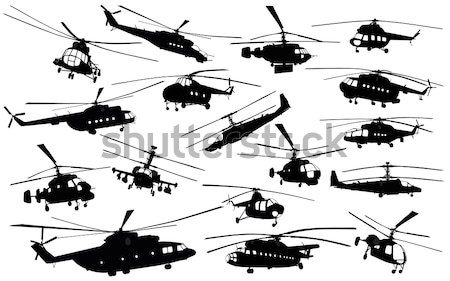Helicopter silhouettes set Stock photo © vadimmmus