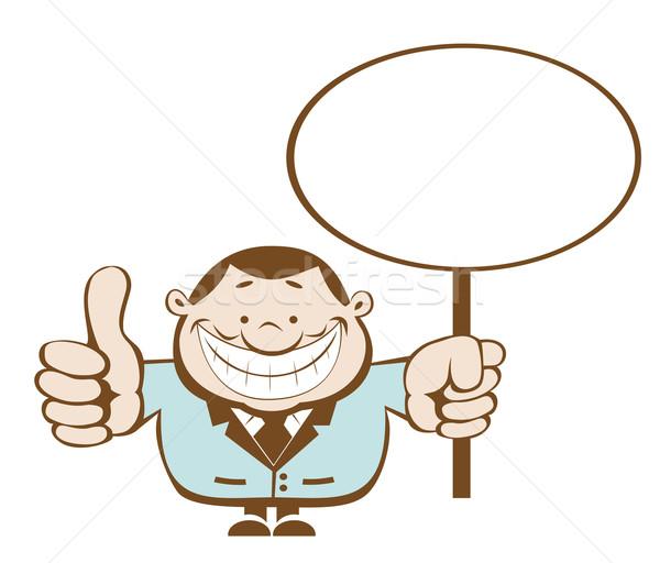 Cartoon бизнесмен улыбаясь отдельный Сток-фото © vadimmmus