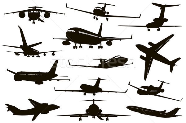 Aircraft silhouettes set Stock photo © vadimmmus