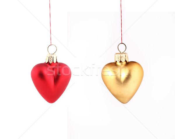 Рождества сердцах подвесной красный желтый изолированный Сток-фото © vadimmmus