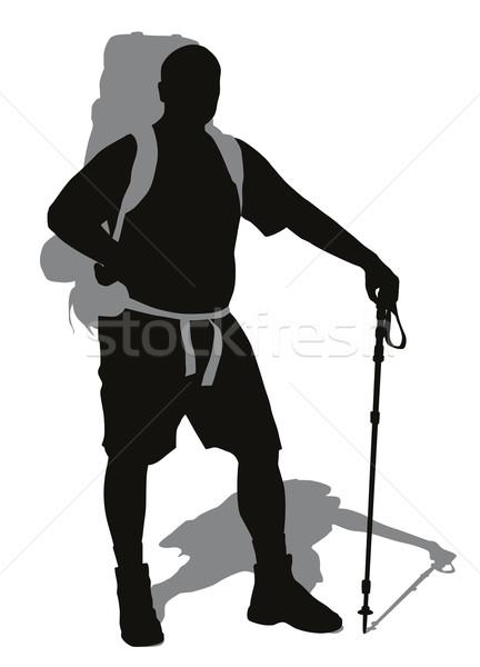 Férfi hátizsák trekking pólus pózol vektor Stock fotó © vadimmmus