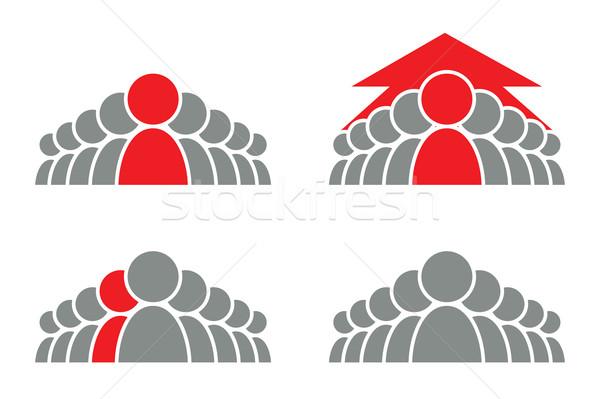 руководство икона стилизованный группа людей стрелка вектора Сток-фото © vadimmmus