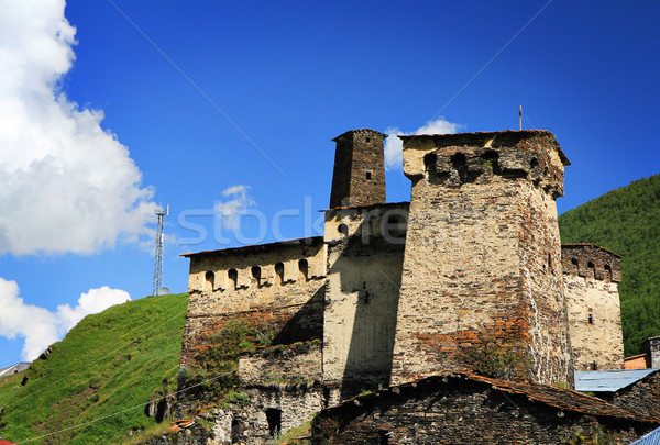 Köy eski towers dağ doku ağaç Stok fotoğraf © vadimmmus