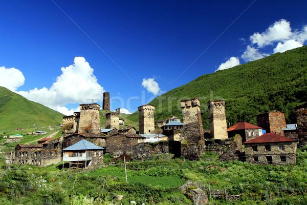 горные деревне древних towers синий облачный Сток-фото © vadimmmus