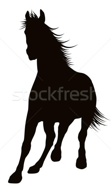 Foto stock: Vetor · cavalo · corrida · cavalos · detalhado · silhueta