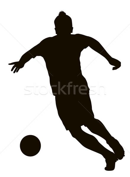 Футбол футболист подробный вектора силуэта спортивных Сток-фото © vadimmmus