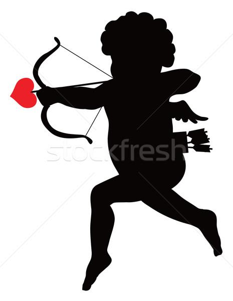 情事 シルエット 弓 矢印 ベクトル 愛 ストックフォト © vadimmmus