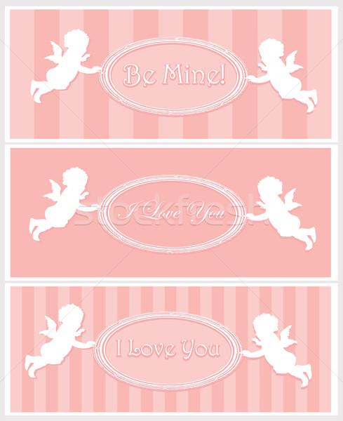 Valentin napi üdvözlet terv szett Valentin nap kártyák copy space Stock fotó © vadimmmus