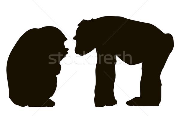 Soru iki monkeys vektör siluet eps Stok fotoğraf © vadimmmus