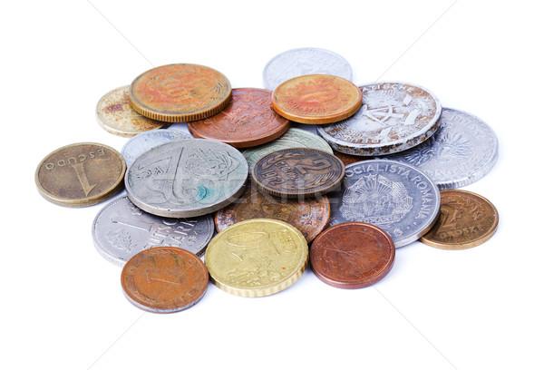 старые монетами изолированный белый фон металл Сток-фото © vadimmmus