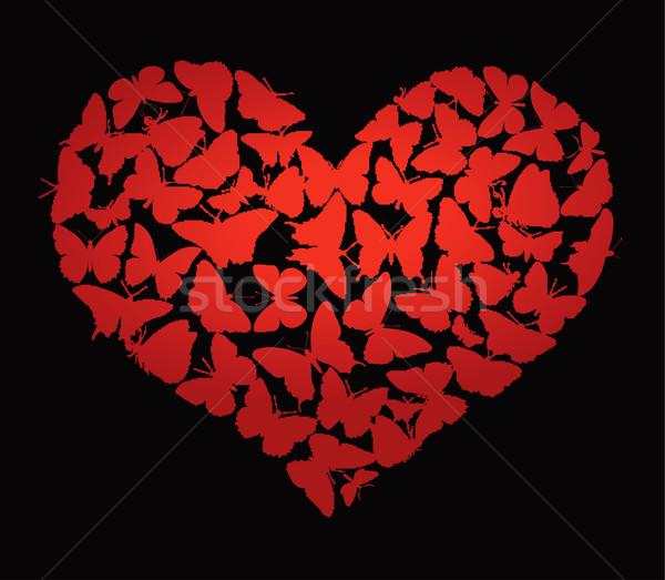 вектора сердце бабочки черный дизайна Сток-фото © vadimmmus