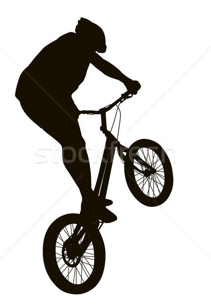 силуэта велосипедов трюк подробный вектора Сток-фото © vadimmmus