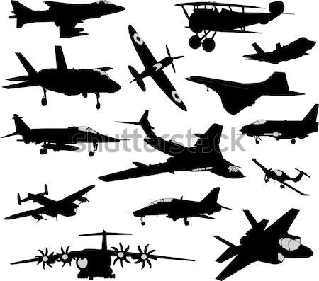 Aviation silhouettes avion élevé détaillée homme Photo stock © vadimmmus