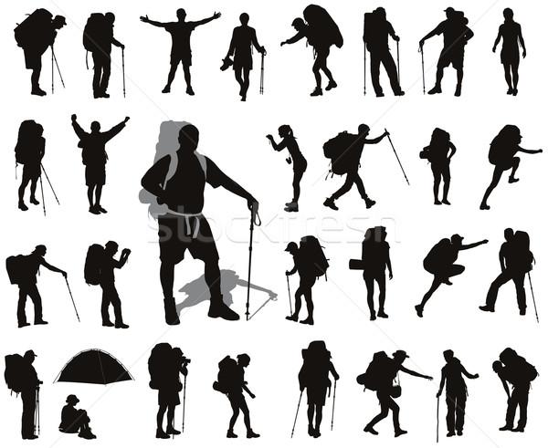 Backpacker ingesteld mensen rugzak vector silhouetten Stockfoto © vadimmmus