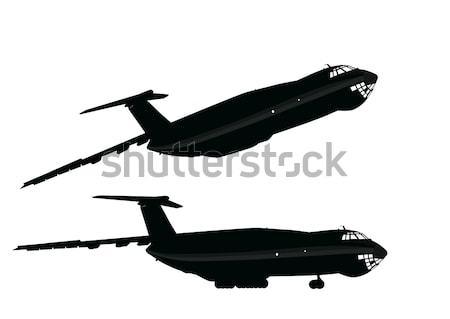 Uçak taşıma ayrıntılı siluetleri vektör ayrı Stok fotoğraf © vadimmmus