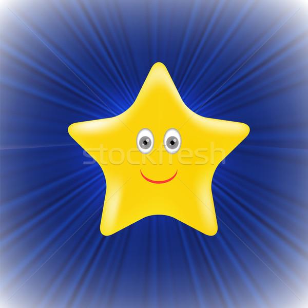 Amarelo estrela azul onda projeto fundo Foto stock © Valeo5