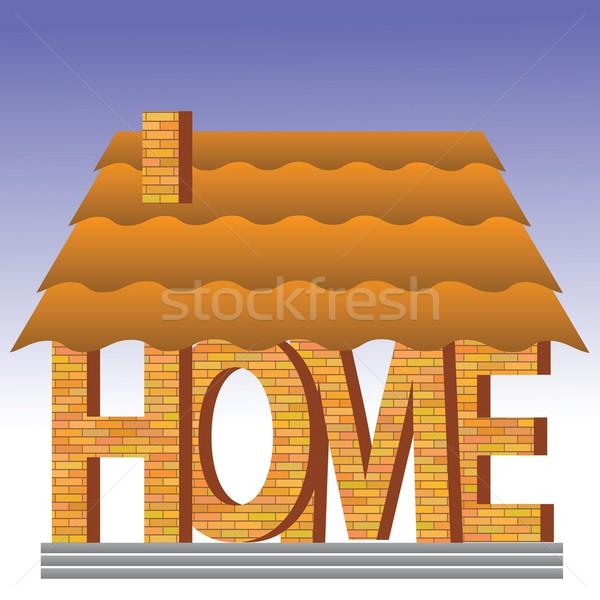 Home icon kleurrijk illustratie baksteen brief Stockfoto © Valeo5