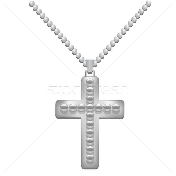 серебро крест металл изолированный белый христианской Сток-фото © Valeo5