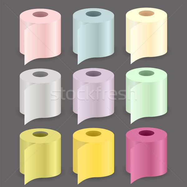 красочный бумаги катиться набор изолированный серый Сток-фото © Valeo5