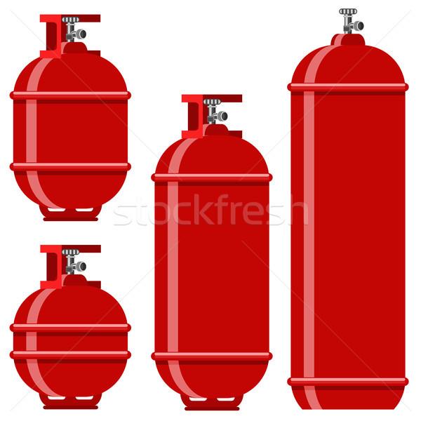 Red Gas Tank Icon Set Stock photo © Valeo5