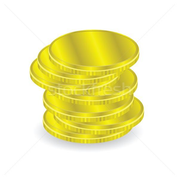Золотые монеты красочный иллюстрация белый бизнеса металл Сток-фото © Valeo5