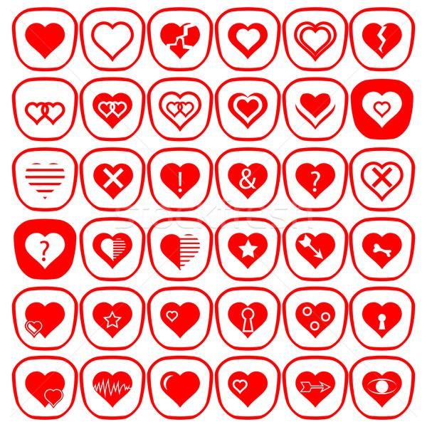 набор различный красный сердцах иконки Сток-фото © Valeo5