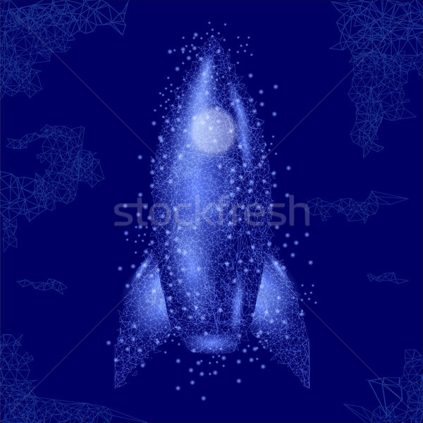 Ruimte raket geïsoleerd Blauw teken Stockfoto © Valeo5