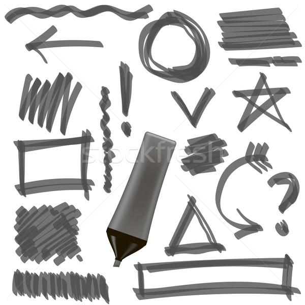 Gray Marker. Set of Graphic Signs. Arrows, Circles Stock photo © Valeo5