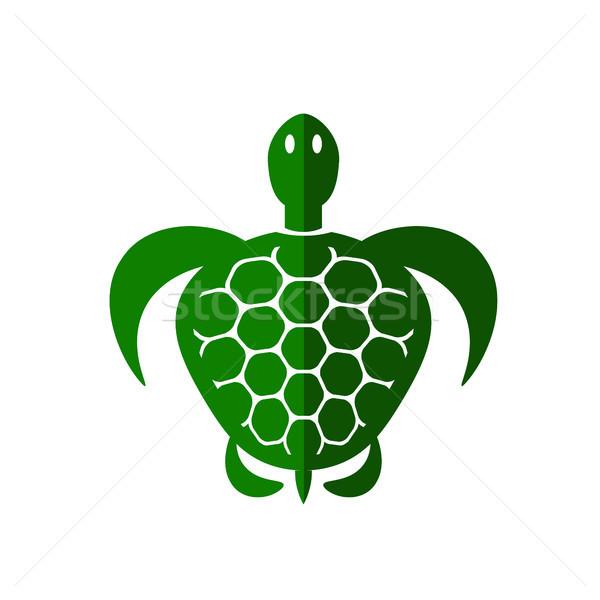 Oceaan schildpad icon geïsoleerd witte zee Stockfoto © Valeo5