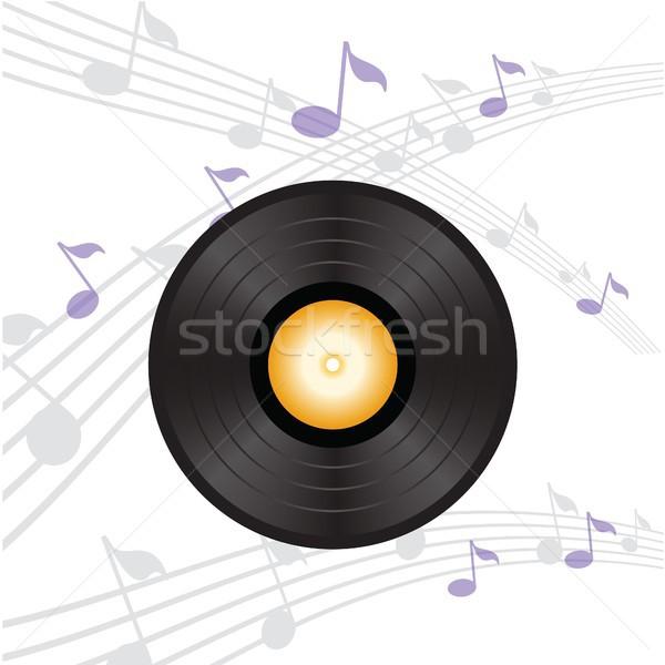 Vinyl record oranje label kleurrijk illustratie Stockfoto © Valeo5