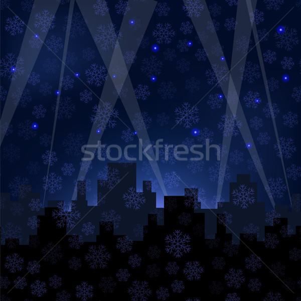 Houses Silhouettes on Winter Night Starry Sky. Stock photo © Valeo5