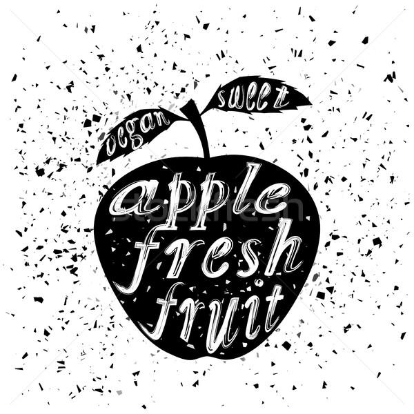 яблоко икона типографики дизайна белый Гранж Сток-фото © Valeo5